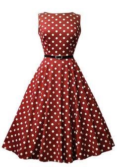 Wine Red Polka Dot Hepburn, Kellomekko - Lady Vintage