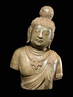 China, Head and Torso of a Bodhisattva, Tang Period, 618-907 CE, Marble, Height: 18 1/4 inches,