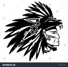 Illustration about Aztec tribe warrior wearing feather headdress with panther head - black and white vector design. Illustration of mexican, leader, monochrome - 43168114 Aztec Warrior Tattoo, Aztec Tribal Tattoos, Tribal Tattoos For Women, Aztec Art, Tribal Tattoo Designs, Head Tattoos, Body Art Tattoos, Sleeve Tattoos, Guerrero Tribal
