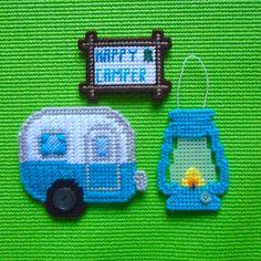 "Plastic Canvas: Happy Camper Set, ""Parakeet"" (set of 3 -- camper magnet, ""Happy Camper"" magnet and lantern ornament) by ReadySetSewbyEvie on Etsy"