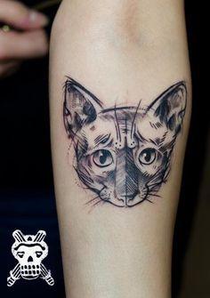 cat tattoo Czaszka i Sztylet