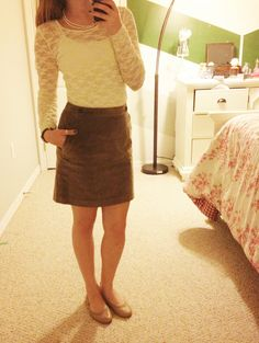 Corduroy + Lace! Christmas Day Outfit :)