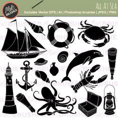 All At Sea Nautical Clipart Illustrations