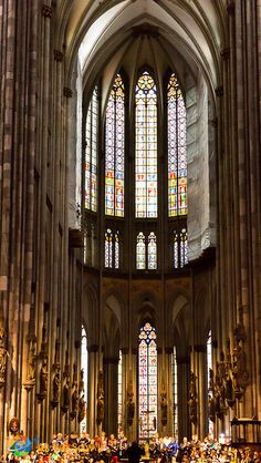 Half domed stained glass windows in the cathedral in Cologne, Germany - aswesawit.com