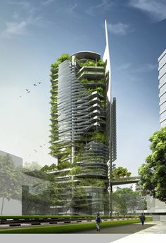 Eco friendly architecture/Green building  Ken Yeang & TR Hamzah Architects _ EDITT Tower _  Singapore _ 2008