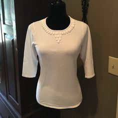 "WHITE EMBELLISHED BLOUSE  * armpit to armpit 18.5"" across laying flat * length 20"" * dress it up or down  Margaret Frances Tops Blouses"