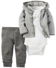 Carters Baby Boys 3-Pc. Little Lamb Hoodie, Bodysuit  Pants Set