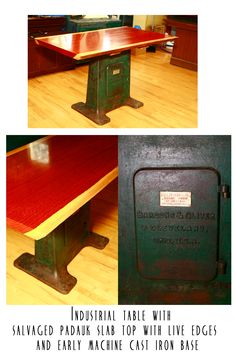 Custom made industrial table~ the top is a beautiful slab of salvaged padauk wood, finished with live edges on the long sides. The bottom is a cast iron machine base from the late 1800's Hill Clark & Co. out of Boston, Massachusetts and also Bardon's & Oliver out of Cleveland, Ohio.  This piece would be an amazing kitchen island or table or even a desk!!!  $2500