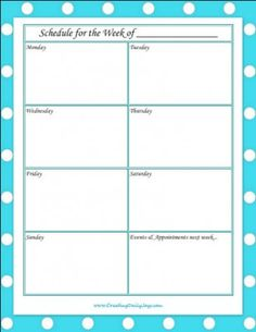 weekly schedule free printable series on aging tips on caring for parents part