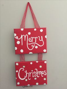Merry Christmas small canvas painting with ribbon