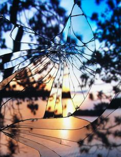 Broken mirror sunset reflections