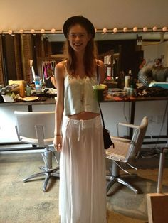 behati. long white maxi, with cropped tank.