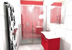 A striking red and white shower room with elegant red vanity unit and frameless sliding shower enclosure designed by Room H2O