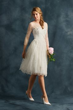 Atelier Eme Tea Length Wedding Dress With Sleeves | Style STEFANIA