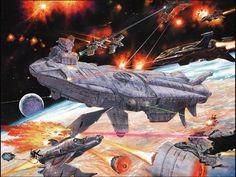 I enjoy Fantasy, Sci-Fi, and Surreal art (: : Photo Spaceship Art, Spaceship Design, Concept Ships, Concept Art, Sci Fi Anime, Space Fighter, Space Battles, Sci Fi Ships, Deep Space
