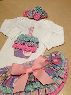 Girls first birthday set, cake smash, birthday, ruffle bloomers, headband, onesie via Etsy