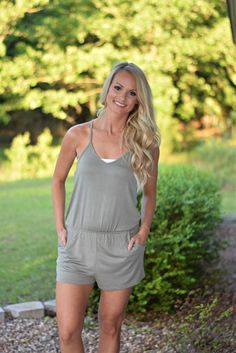 $20 Olive green romper with side pockets! Super comfy and cute! Material is 95%Rayon 5%Spandex