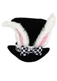 This fantasy Alice in the Wonderland White Rabbit Topper is perfect for Mad Hatter Tea Parties and very happy un-birthdays. The Alice in the Wonderland White Rabbit Topper has rabbit ears on a black top hat with a black and white checkered blow. Alice In Wonderland Birthday, Alice In Wonderland Tea Party, Alice In Wonderland Rabbit, Mad Hatter Party, Mad Hatter Tea, Mad Hatters, Costume Alice, Bunny Costume, Alice Cosplay