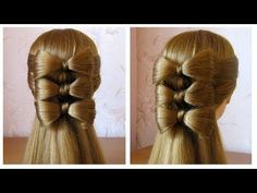 Coiffure avec noeud papillon, cheveux long Hair bow tutorial Hairstyle for long hair - YouTube