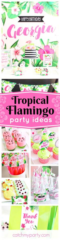 Get rid of the winter blues with this fantastic Tropical Flamingo birthday party! The desserts are so cool!! See more party ideas and share yours at CatchMyParty.com