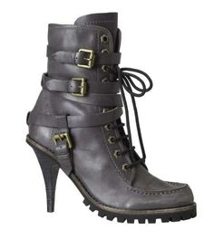 Black Combat-Style, Lace-Up, Buckle Heel Boot