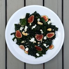 Kale Salad with Mint Lime Dressing, Figs, and Goat Cheese