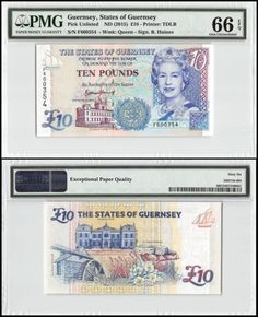 Paper Money: Guernsey 10 Pounds, Nd 2015, P-New, Unc, Queen Elizabeth Ii (Qeii), Pmg 66 Epq BUY IT NOW ONLY: $49.99