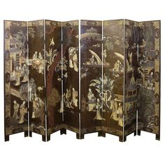 Antique Chinese Eight Panel Coromandel Screen | From a unique collection of antique and modern paintings and screens at http://www.1stdibs.com/furniture/asian-art-furniture/paintings-screens/