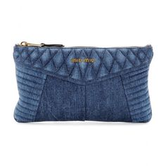 Miu Miu embrace the texture of the season, coating this medium clutch with dark blue denim. Complemented with shiny gold-toned zippers and puffed, quilted panels, a lick of black leather adds a tough contrast.