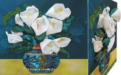 WHITE CALLA 02 3D Ribbon embroidery on printed canvas with back woodden frame size: cm. 39,5x34 Price: € 120,00 $ code: P014
