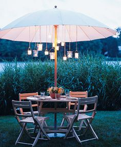 simple summer garden shade and lights