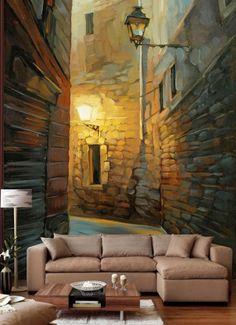 Fotorealistik (Gerçekçi) Duvar Kağıtları - Küçük daireleri bu göz aldatıcı duvar resimleri ile dekore ettiğiniz zaman klostrofobik hissetmenizi önleyebilirsiniz.