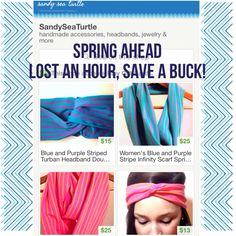 Sandy Sea Turtle Etsy Shop Spring Ahead Sale! Turban headbands, scarves, jewelry, knitted accessories. www.etsy.com/shop/sandyseaturtle #sale