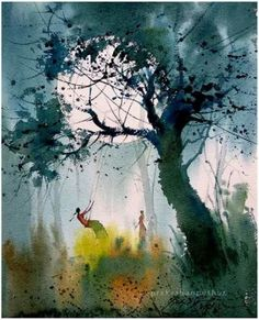Watercolor Paintings Nature, Watercolor Paintings For Beginners, Scenery Paintings, Indian Art Paintings, Nature Artwork, Realistic Paintings, Watercolor Drawing, Composition Painting, Tree Art