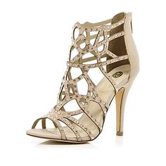 Pink diamante cage sandals - heels - shoes / boots - women