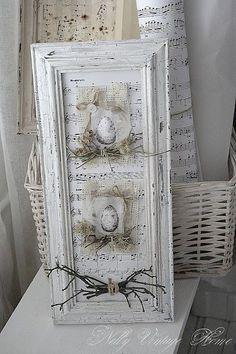 Love the idea. Pastel ribbons to accent and put on living room hearth or mantel. More Love the idea. Pastel ribbons to accent and put on living room hearth or mantel. Shabby Chic Crafts, Shabby Chic Decor, Manualidades Shabby Chic, Decoration Shabby, Creation Deco, Vintage Easter, Crafty Craft, Crafting, Spring Crafts
