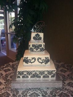 Square Wedding Cakes With Bling | Damask Bling — Square Wedding Cakes