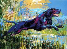 Black Labrador -Leroy Neiman - Painting