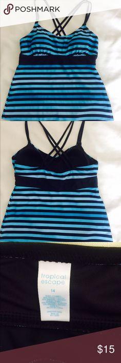 "Tankini Swimsuit Top Sz 14 TROPICAL ESCAPE Tankini swimsuit top. Size 14. Length from underarm- 15.5"";  under cups- 16"" Tropical Escape Swim"