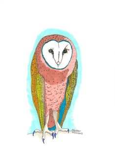 Tooter the Barn Owl  original Promarker drawing