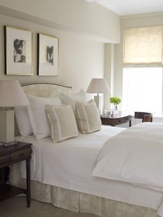 Guest rooms should be fairly neutral, and with not too much personal stuff, like monograms and picture frames. Make it like a nice hotel room. Use the same soft linen print on the roman shades and the bed, and use some antique bedside tables. The black and white prints add a nice graphic punch.