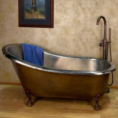 The Norah Victorian Copper Slipper Clawfoot Tub features a hand-polished patina and intricately detailed claw feet, in a beautiful Victorian style. The interior is nickel, which produces a reflective, silvery-white appearance. Clawfoot Tub Bathroom, Western Rooms, Copper Bath, Retreat House, Rustic Bathrooms, Bathroom Inspiration, Bathroom Ideas, Bathroom Organisation, Bathroom Interior Design