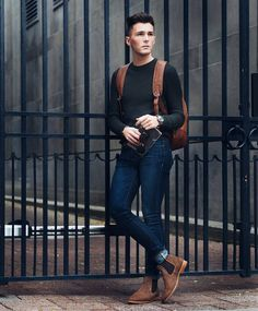 Today I'd like to share some outfit ideas with awesome chelsea boots. This type of boots is a must have for every man, so if you don't have them yet, you should buy chelsea boots as soon as . Brown Chelsea Boots Outfit, Dark Brown Chelsea Boots, Brown Boots Outfit, Look Fashion, Fashion Models, Mens Fashion, Urban Fashion, White Outfit For Men, Style Masculin