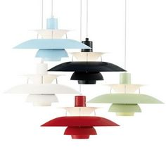 The Poul Henningsen PH Ceiling Lamp is a contemporary and stylish lighting piece first manufactured by Louis Poulsen in the late by architect Poul Henningsen. The illumination from this lamp is glare free providing an ambient soft glow. Danish Furniture, Design Furniture, Beautiful Interior Design, Modern Interior Design, Ceiling Lamp, Ceiling Lights, Living Room Bar, Scandinavia Design, I Love Lamp