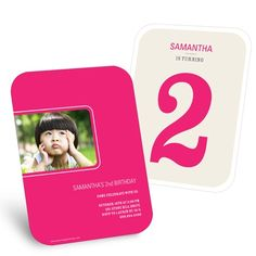 Kids Birthday Party Invitations -- Bold Numbers in Pink. Your kid is turning the big what?! Let everyone know just how old they'll be with this kids birthday party photo invitation!