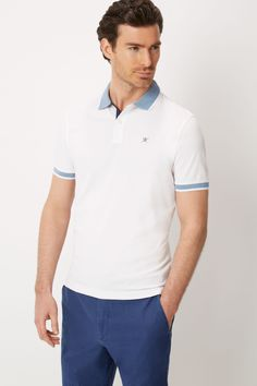 Short Sleeved Woven Trim Polo Shirt - Polo & Rugby Shirts - Clothing - Men | Hackett