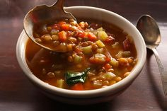 """""""Easy Lentil Soup"""" lives up to its name.  I didn't have plain diced tomatoes on hand, so I used tomatoes with chilies and it added a nice kick!  Dollop of sour cream on top. Lentil Soup Recipes, Sherry Vinegar, Celery, Chana Masala, Chili, Garlic, Beans, Stuffed Peppers, Lentils"""