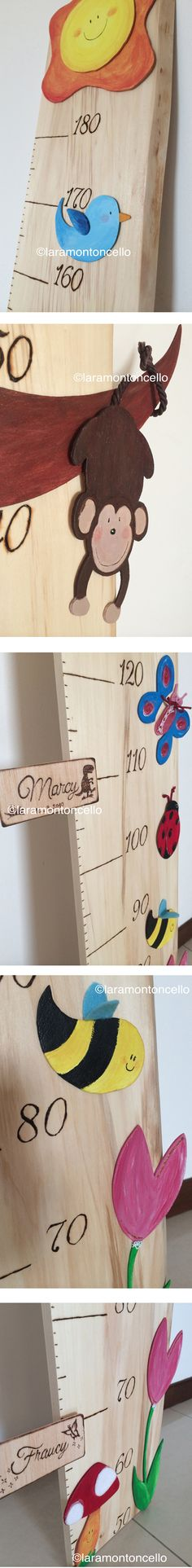Handmade Children Wooden Growth Chart - DIY - pyrography - made by Lara Montoncello