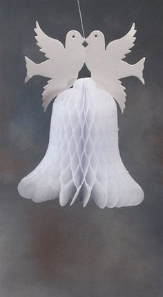 12 Kissing Doves Double Bells Paper Honeycomb Decoration Want additional info? Click on the image. #me