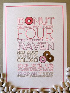 Donut Birthday Party Invite by SpillingBeans on Etsy, $1.50